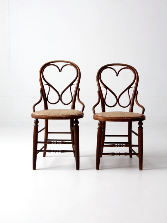 image 0 - Antique Bentwood Chair Set/2 Heart Back Wood Chairs With Etsy
