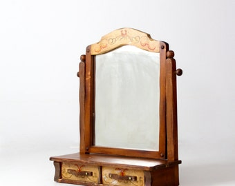 vintage Monterey style dresser top vanity mirror, Monterey furniture