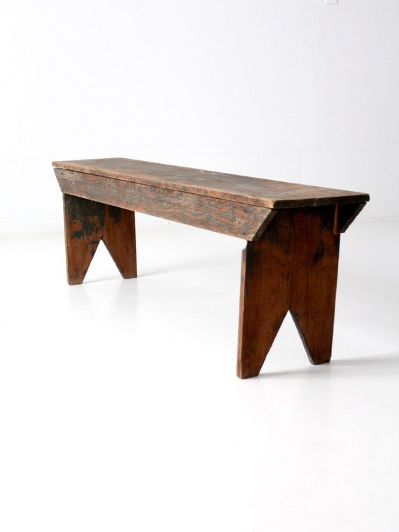Image 0 Antique Wooden Bench T65