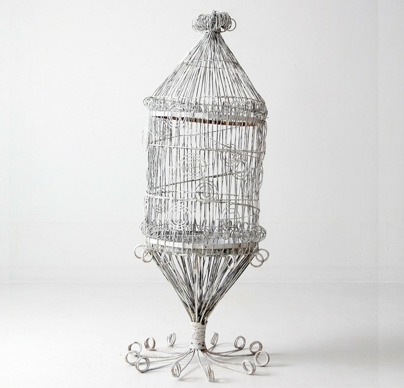 antique Victorian bird cage, large metal cage, garden decor