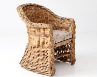 Vintage Rattan Barrel Chair, Wicker Club Chair
