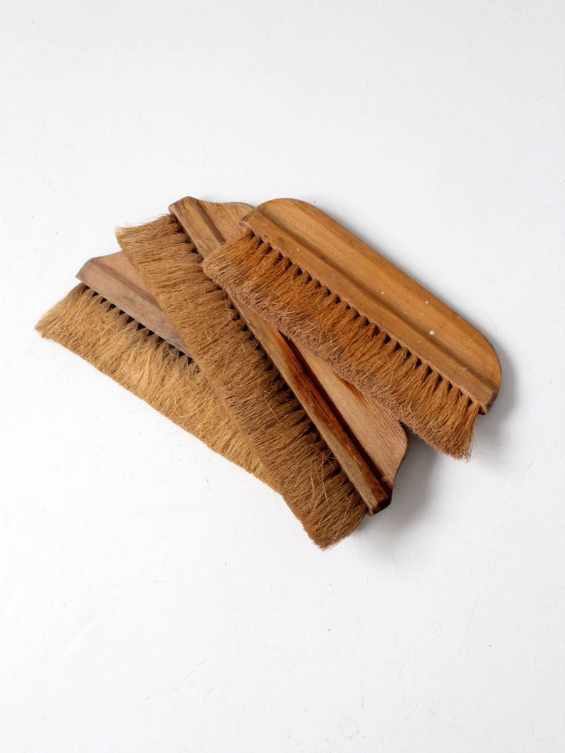 Natural Bristle Makeup Brushes: Antique Hand Broom Collection Natural Bristle Brushes