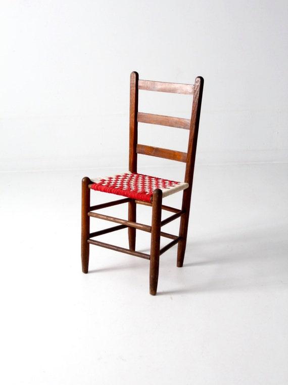 Ladderback stuhl mit gewebten stoff sitz antike stein akzent etsy - Stuhl mit namen ...