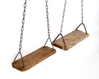 primitive swing pair, vintage rustic wood swings
