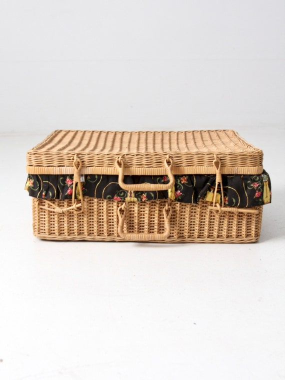 mid-century wicker picnic basket