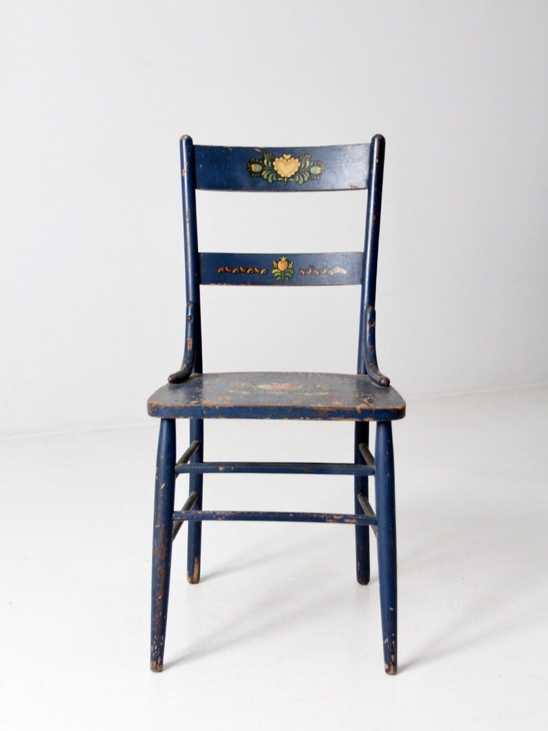 Enjoyable Antique Stencil Chair 19Th Century Blue Painted Wooden Chair Home Interior And Landscaping Oversignezvosmurscom