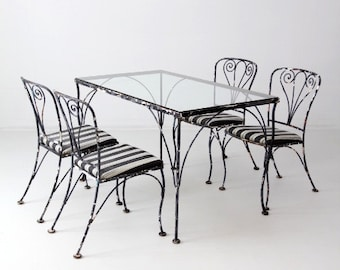 vintage wrought iron patio furniture, metal outdoor furniture table set