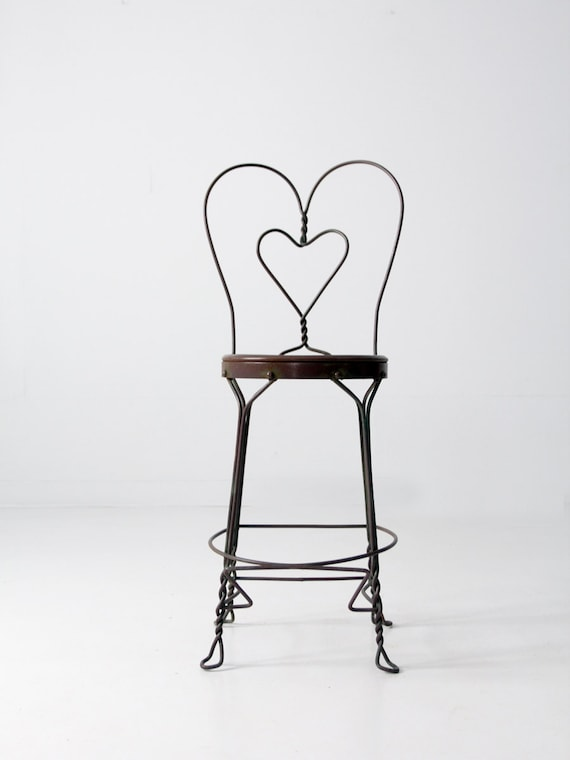 image 0 - Vintage Ice Cream Parlor Chair Heart Back Tall Stool Etsy