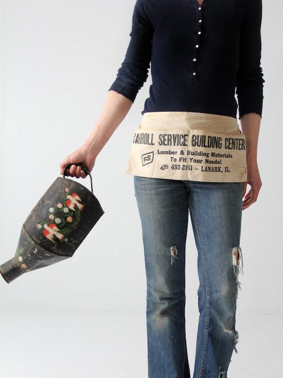 vintage work apron, canvas lumber yard half apron,
