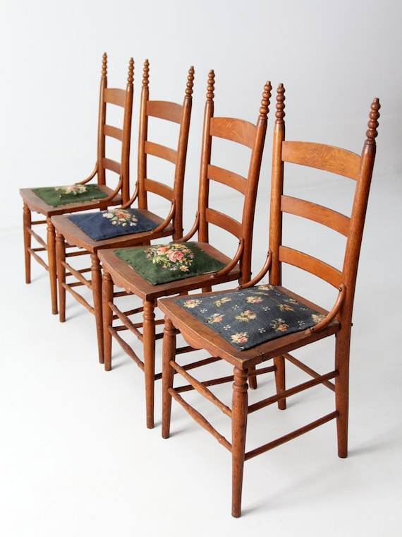 image 0 - Antique Ladder Back Chairs With Needlepoint Seat Etsy