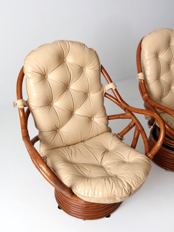 Cool Mid Century Rattan Swivel Chair Set 2 With Ottomans Pabps2019 Chair Design Images Pabps2019Com