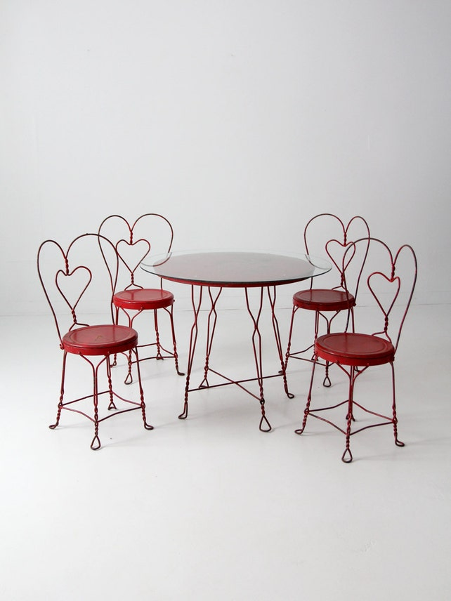 image 0 - Vintage Ice Cream Parlor Table Set With 4 Chairs Red Outdoor Etsy