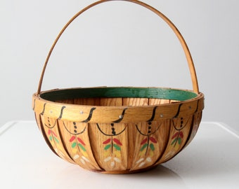 antique painted wood band basket