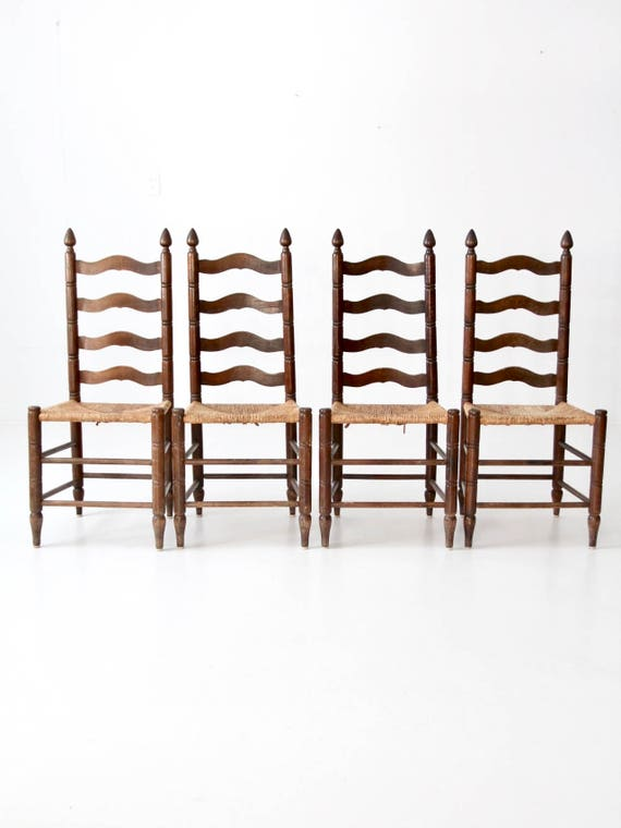 image 0 - Antique Ladder Back Chairs With Rush Seat Set Of 4 Dining Etsy