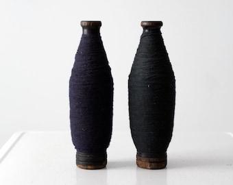antique spools, pair wood spools with thread