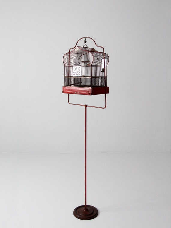 antique bird cage with stand red crown birdcage decorative etsy. Black Bedroom Furniture Sets. Home Design Ideas