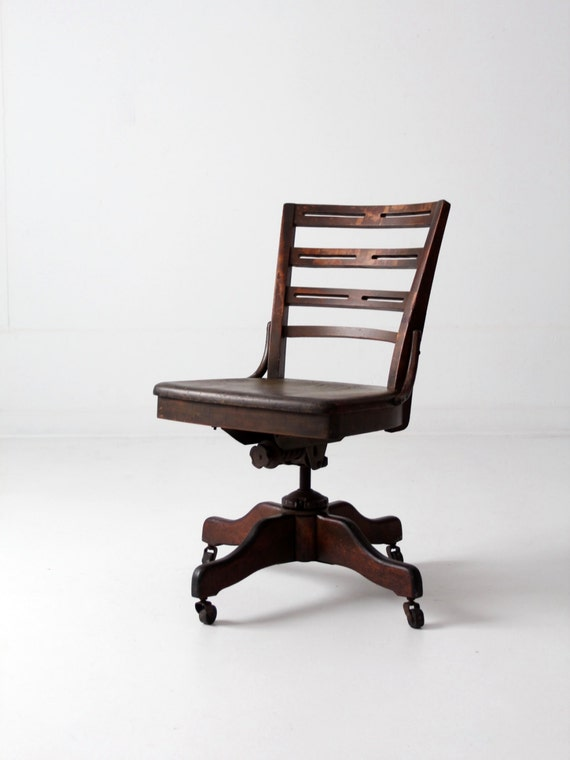 Antique Desk Chair Wood Swivel Office Chair On Casters Etsy