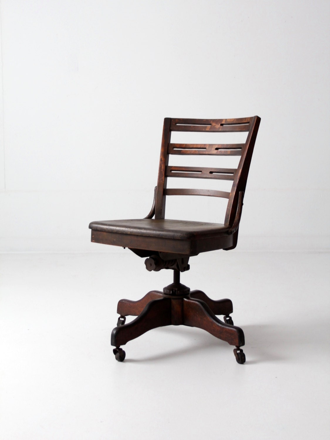 Antique Desk Chair Wood Swivel Office Chair On Casters