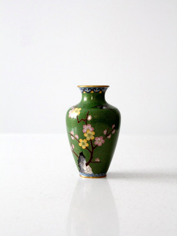 Vintage Chinese Cloisonn Vase Small Green Floral Enamel Etsy