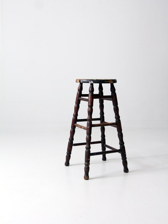Fantastic Antique Spindle Stool Tall Wood Stool Turned Leg Stool Evergreenethics Interior Chair Design Evergreenethicsorg
