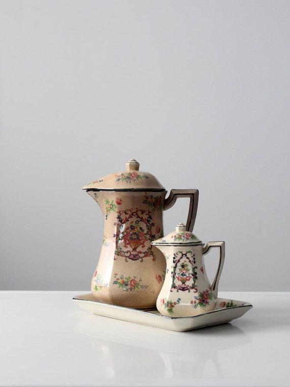 service th en porcelaine japonaise avant 1950 floral etsy. Black Bedroom Furniture Sets. Home Design Ideas