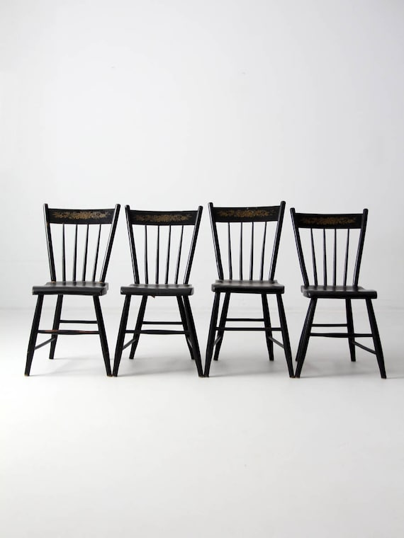 image 0 - Antique Windsor Chairs Set/4 Stencil Back Spindle Chairs Etsy