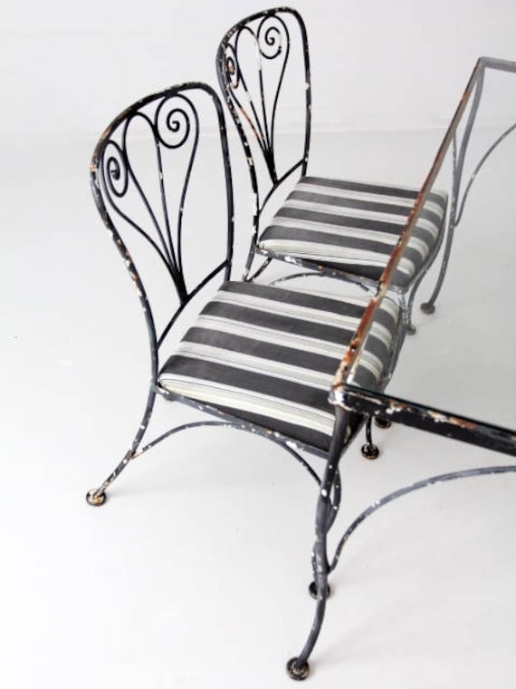 Miraculous Vintage Wrought Iron Patio Furniture Metal Outdoor Furniture Table Set Bralicious Painted Fabric Chair Ideas Braliciousco