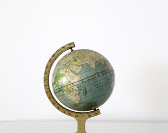 1920s world globe, J Chein Globe, 7 inch tin globe