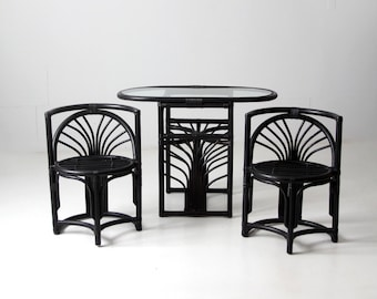 mid-century black rattan table and chairs set