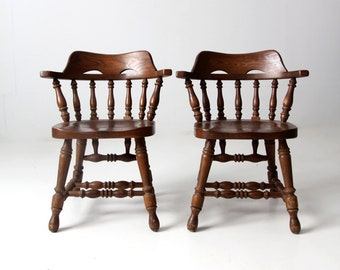 vintage Richardson Brothers Company oak dining chairs pair