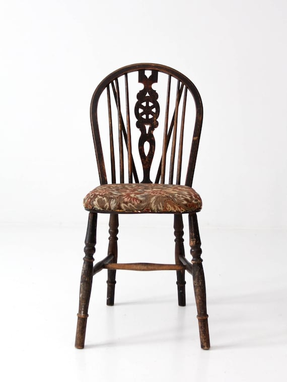 image 0 - Antique Spindle Chair With Tapestry Seat Black Windsor Chair Etsy