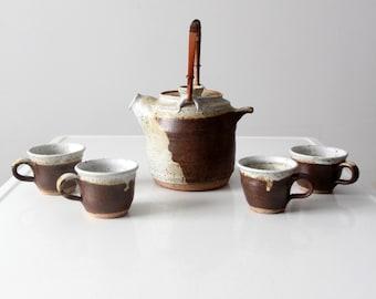 vintage Japanese studio pottery teapot and mugs set