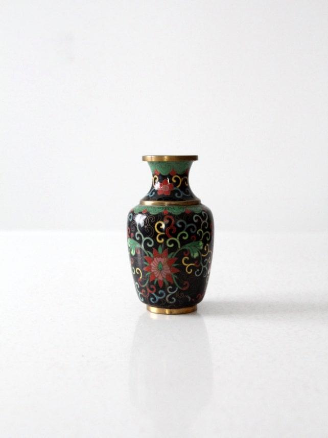 Vintage Chinese Cloisonn Vase Small Black Floral Brass Etsy