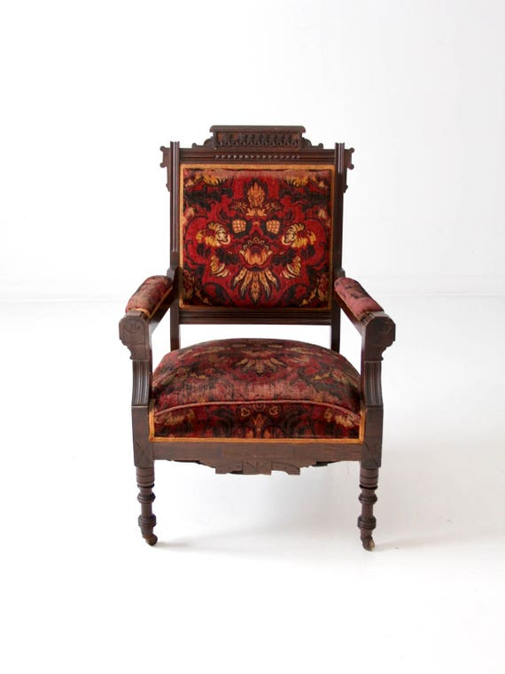 image 0 - Antique Upholstered Arm Chair Sheraton Style Chair Etsy