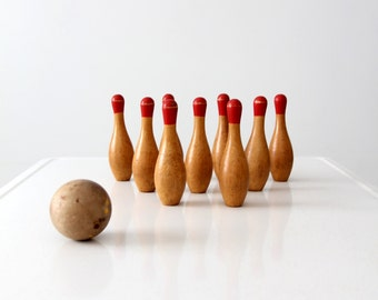 antique table top skittles, old wood bowling game