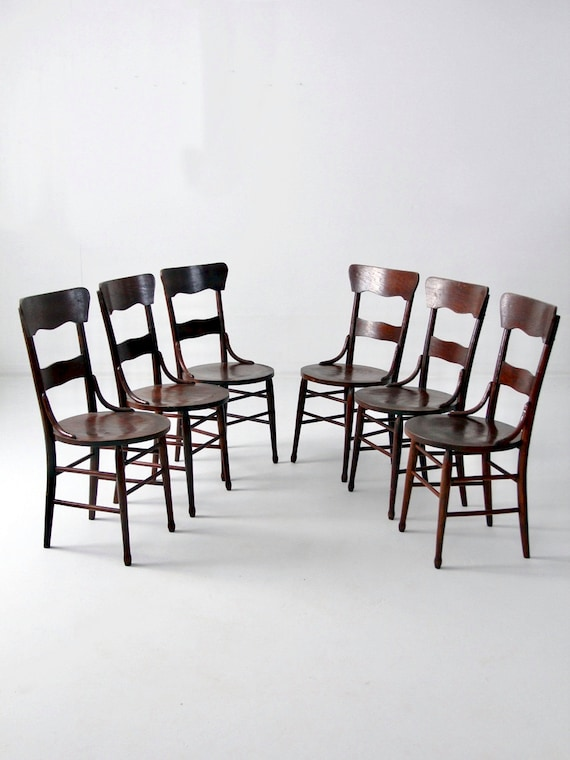 image 0 - Antique Bentwood Chair Set Of 6 Wood Dining Chairs Etsy