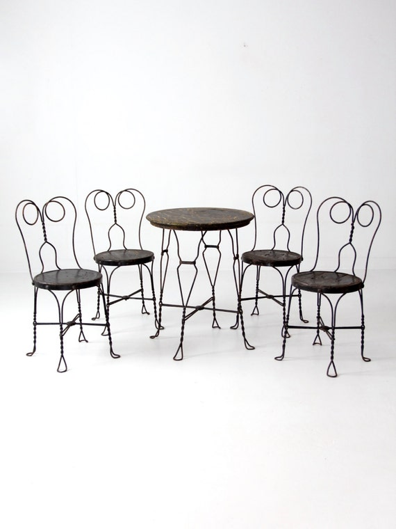 image 0 - Ice Cream Parlor Table And Chairs Vintage Black Cafe Table Etsy