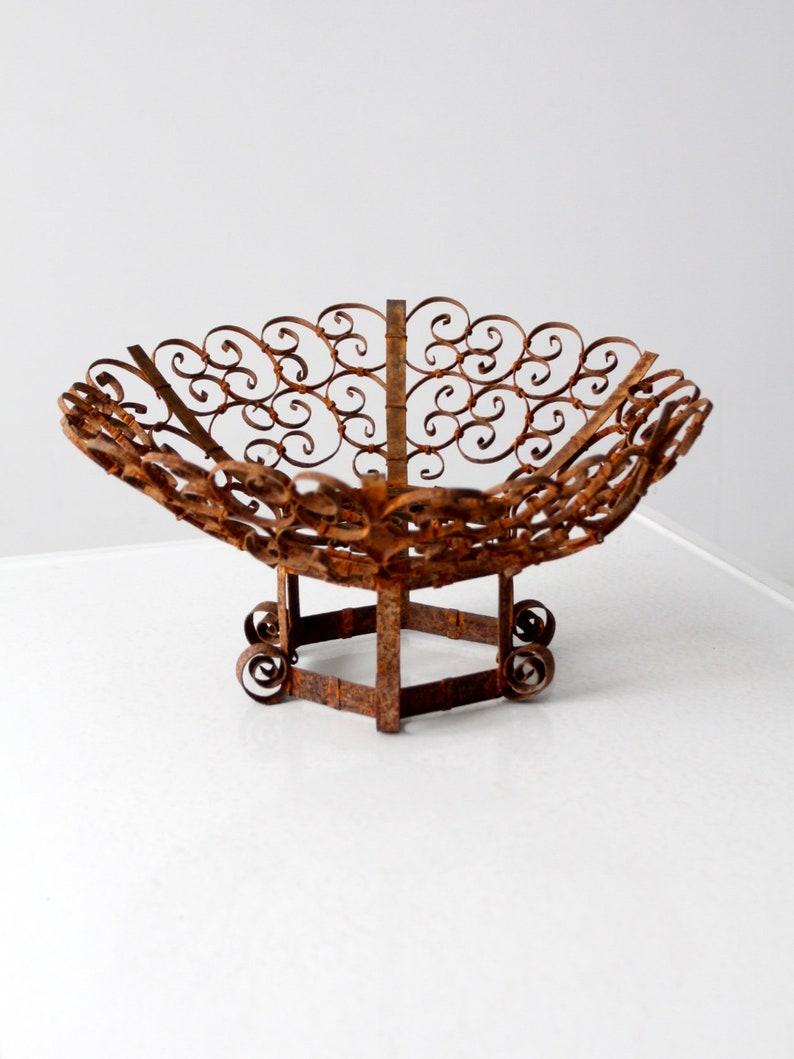 gothic outdoor centerpiece mid-century wrought iron scroll pedestal bowl