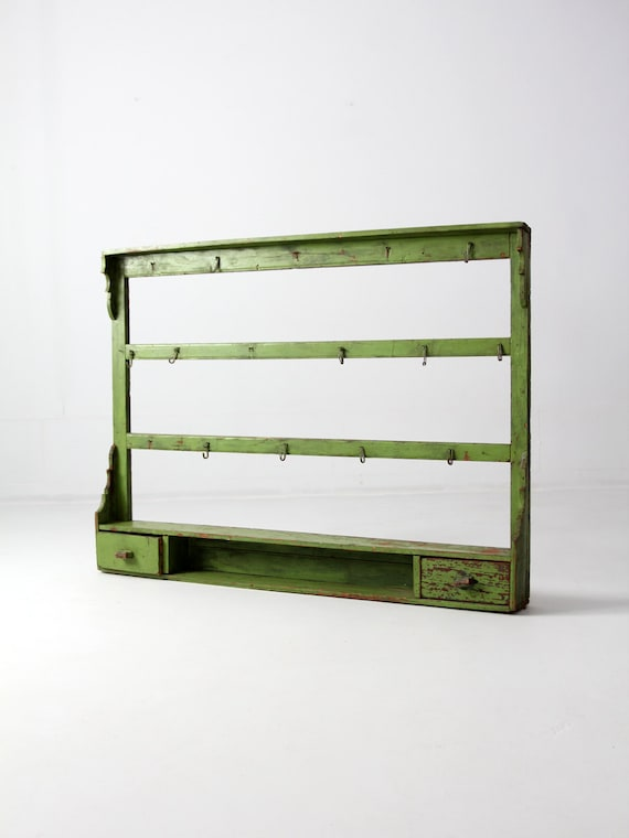 Antique Kitchen Rack Wood Wall Shelf Painted Shelves
