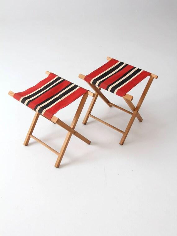 Terrific Vintage Camp Stool Set Pair Stripe Cloth Folding Stools Evergreenethics Interior Chair Design Evergreenethicsorg