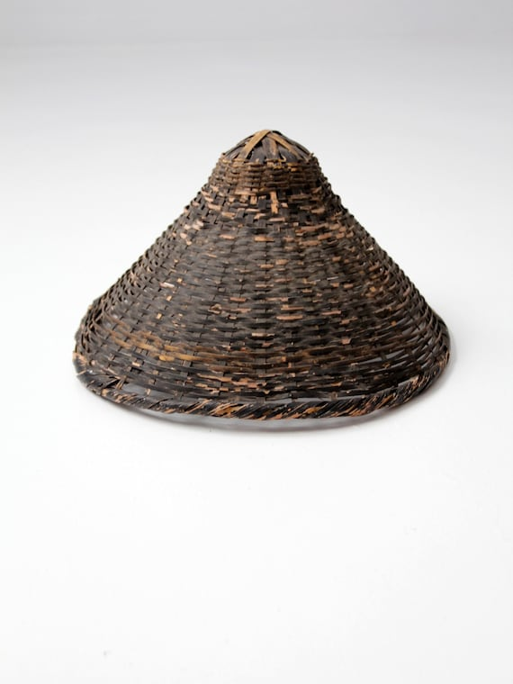 Antique Asian sun hat black wicker conical hat wall decor  b97cd4f23ae