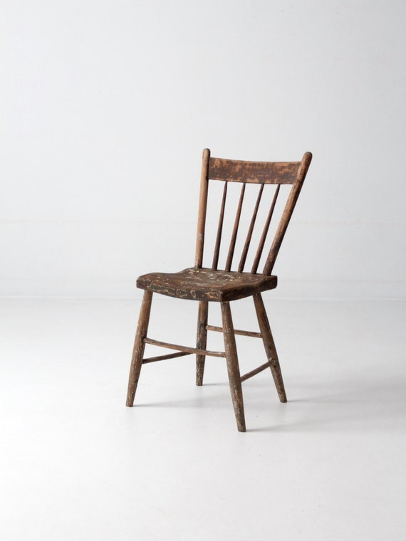 image 0 - Antique Primitive Chair Spindle Back Folk Accent Chair Etsy