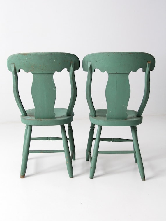 Antique Fiddle Back Chairs Green Cottage Set 2