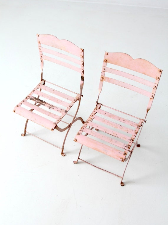 Tremendous Antique Childrens Folding Chairs Pink Metal Kids Garden Chairs Dailytribune Chair Design For Home Dailytribuneorg