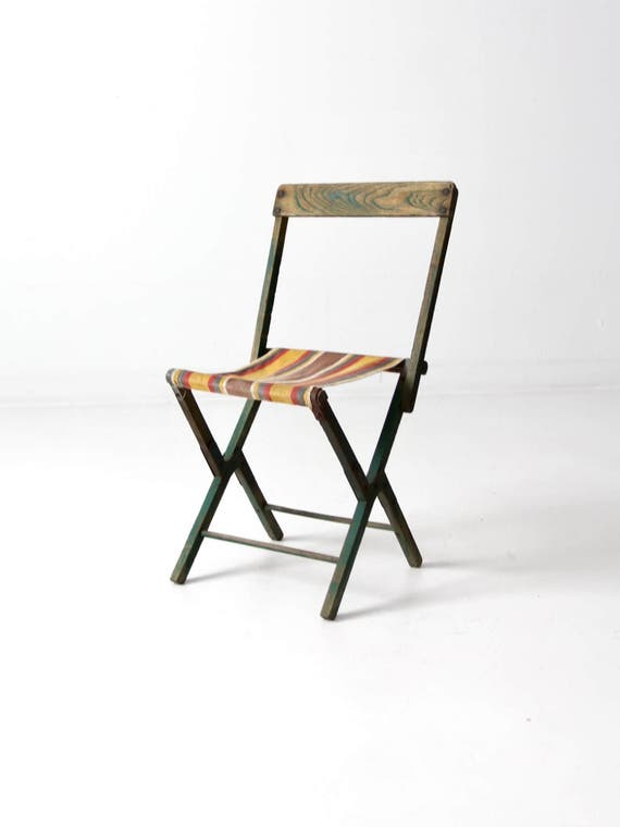 Remarkable Vintage Camp Stool Wood Folding Chair With Stripe Canvas Seat Bralicious Painted Fabric Chair Ideas Braliciousco