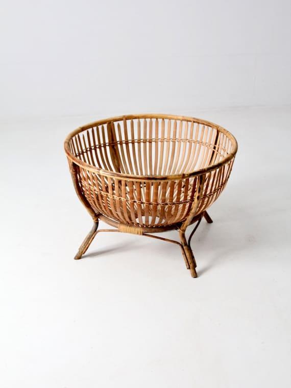 Mid Century Rattan Basket On Stand Etsy
