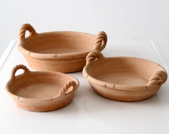 vintage terra cotta bowl collection, terra cotta shallow bowls with handles