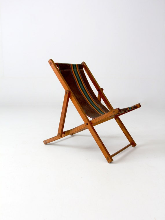 vintage children\'s deck chair, folding beach chair, kids patio chair