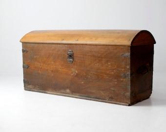 antique wood trunk, antique chest