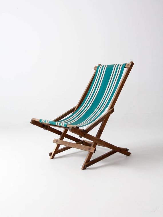 vintage striped deck chair, rocking deck chair, folding beach chair